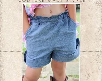 Blossom's Tab Shorts PDF Pattern Sizes 6-12m to 8 Girls