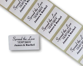 100 x personalised custom spread the love stickers 25mm x 50mm white labels