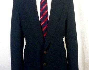 euc Bespoke Tailored Canvassed Wool Green Blazer Sportcoat Golf brass btns 42 R