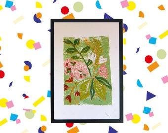 linocut flowerarrangement A4 size 4/4
