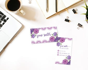 Watercolor Flowers-Lace Custom Printable Business Card- Business Card DIY Digital Download- Personalized Business Card- Modern Business Card