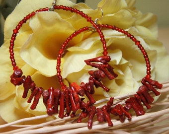 1 Red Coral Branch  Hoop Earrings  -  dangle hoops, Crimes of Fashion