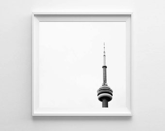 Toronto CN Tower Minimalist Black and White Art Print - City Art - Multiple Sizes Available, Fits Ikea Ribba Frames - FREE SHIPPING