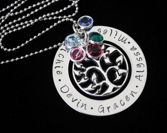 Family Tree personalized name pendant  necklace with Swarovski Birthstones and tree charm - Mothers necklace - family necklace