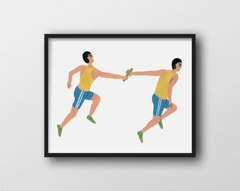 Relay Race Wall Art Print Home Decor 11x14 8x10