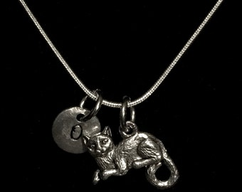 Cat Sterling Silver Necklace, Kitty Sterling Silver Necklace, Feline Sterling Silver Necklace qb133