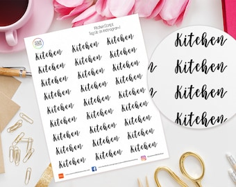 Kitchen Planner Stickers for Erin Condren Life Planner, Kikki K, Happy Planner, Filofax etc, words, text, script, cleaning, room, home