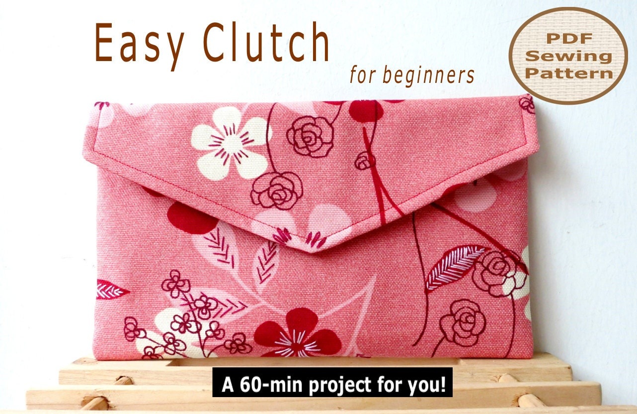 Easy beginner clutch instant download a 60 min pdf bag sewing this is a digital file jeuxipadfo Gallery