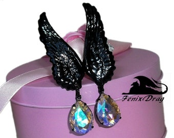 "Gorhic Clip earrings ear ""Black angel wings"" crystal drop Vintage, Steampunk, Vampire, Edwardian, Victorian, Fantasy jewelry style"