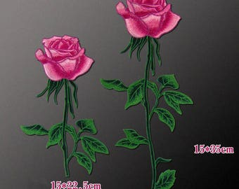 Hot Pink Rose Patches, Sew On Flower Appliques
