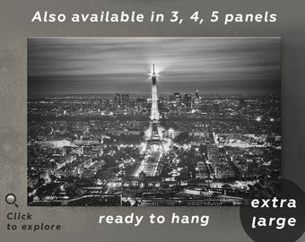 Eiffel tower canvas wall decor Black and white Large paris canvas print Eiffel tower art Eiffel tower print Paris photography print wall art