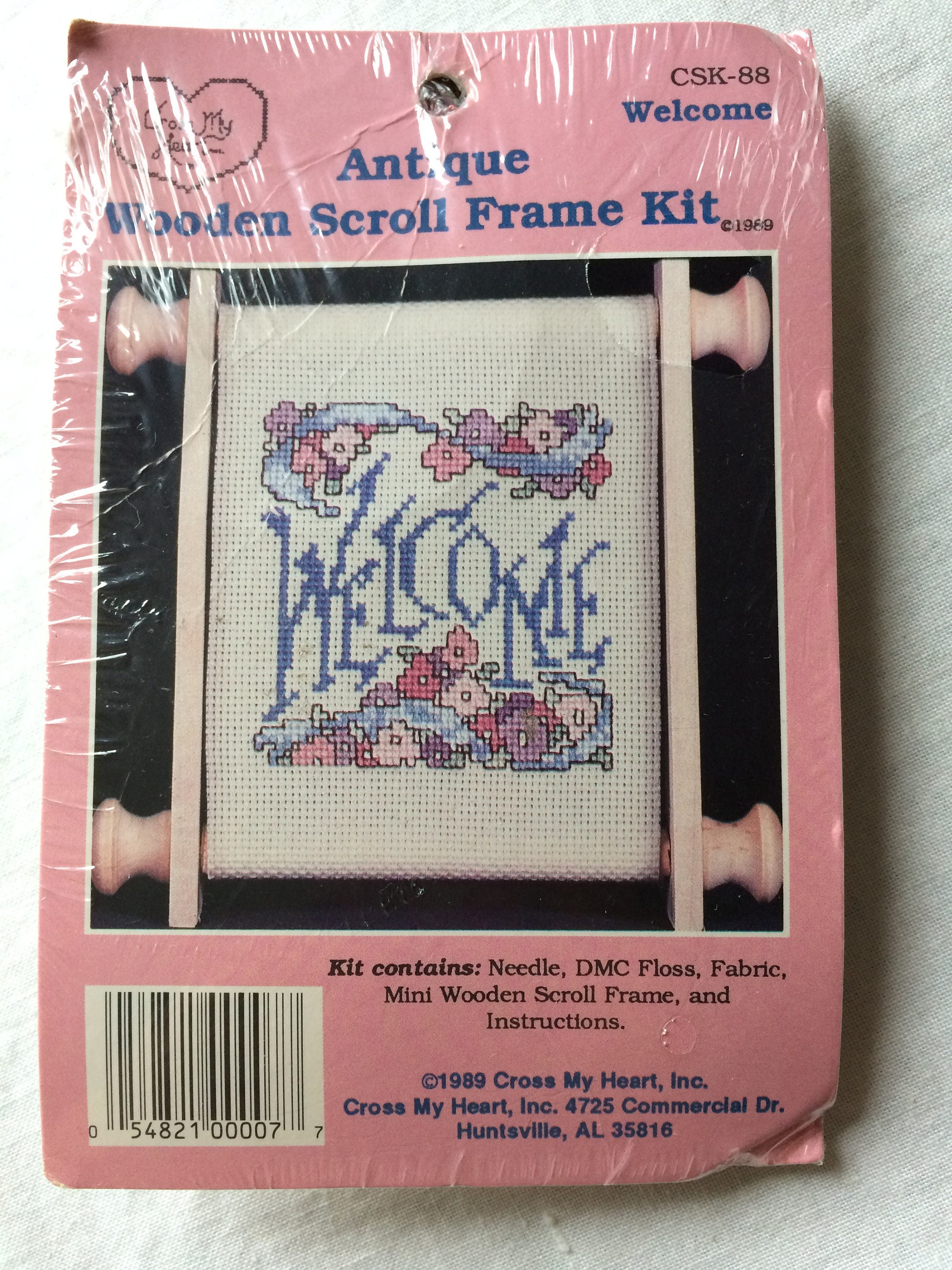 New Wooden Scroll Frame Counted Cross Stitch Kit Welcome by Cross My ...