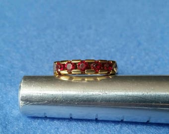 Vintage Gold Tone Ring with Five Red Stones, channel set multistone ring, size 8.25 vintage ring, band ring