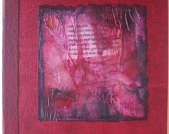 Handmade Journal Red Rice paper Collage Refillable 8x8 OOAK Original