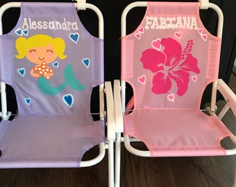 Personalized toddler beach chair with umbrella
