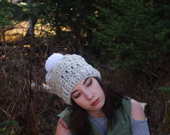 The Chelsea Slouch // Crochet Slouchy Hat Beanie Pom Pom Hat