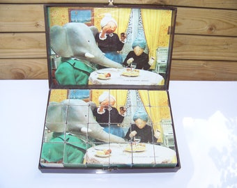Babar game puzzle vintage 24 cubes for 5 ORTF 1968 - Babar game vintage jigsaw puzzles