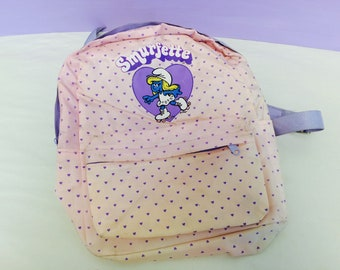 Vintage Smurfette Backpack, 1980s Smurfs, Cute Rollerskating Smurfette, Pink Backpack with Purple Hearts, Skater Backpack, Cute Collectible