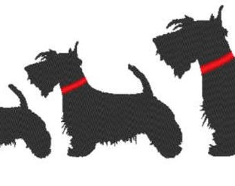 Solid Scottish  Terrier Embroidery Design File - multiple sizes and formats - instant download
