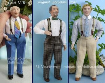 1:12 porcelain Doll Gentleman with suspenders (1910 -1950)