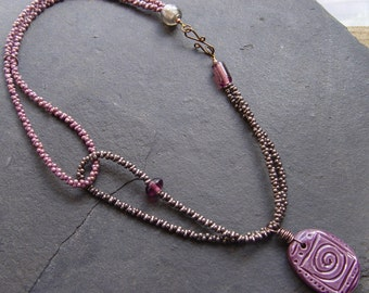 It's A Wrap - Purple Pendant on Interlocking Neck Straps with Glass Beads Necklace Boho