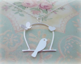 Silver Birdcage Necklace - Sterling Silver 925 Lovebird Bird Necklace Pendant Bridesmaid Gift Handmade