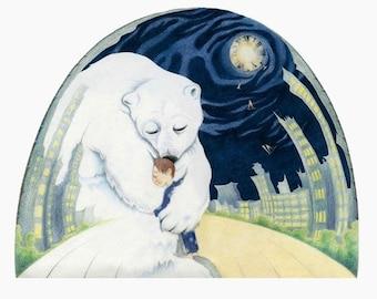 """Animal Art Print, limited edition - """"The Hug"""""""