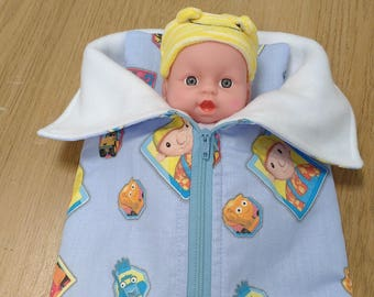 """Dolls sleeping bag and pillow/ Sleeping bag and pillow for 8"""" doll/ With doll or without doll"""