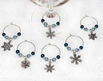 Blue Snowflake Wine Charms; Christmas; Winter; 6 piece wine charm set