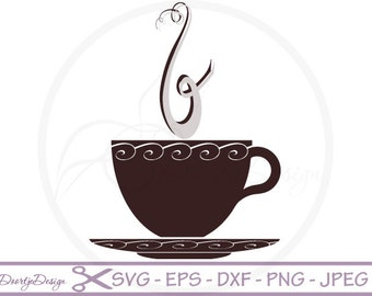 Coffee Cup Vector SVG File, Clipart Coffee Cup, Scrapbook Coffee Cup, Instant download, EPS cutting file, SVG cut file, dxf files coffee cup
