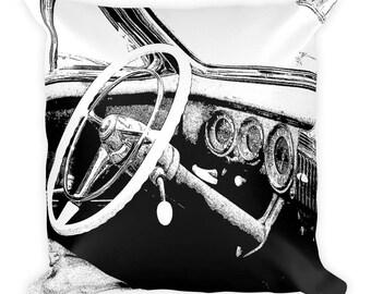 Vintage Auto Square Pillow - Vintage Car Pillow - Vintage Auto Interior