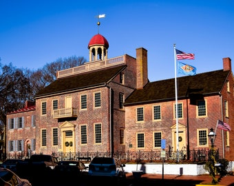 """Old New Castle Delaware Photography, """"The Courthouse Profile"""" Print Architecture Wall Art Prints"""