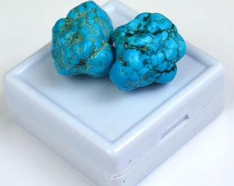 Free Shipping 74.05 Ct Natural Arizona Mine Kingman Turquoise Gemstone Rough Pair