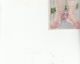 A Beautiful Antique Christmas Postcard- Victorian-Pink Stripe Stockings Hung Embossed Silver-Holly-Must See