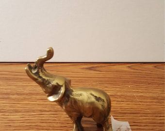 1970's Small Vintage Brass Elephant, Brass Animals, Brass Figurines, Home Decor, Office Decor