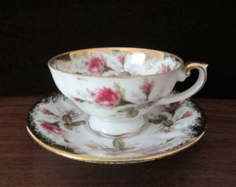 Royal Sealy China Teacup And Saucer Set With Pink Roses And Gold Trim. Made in Japan