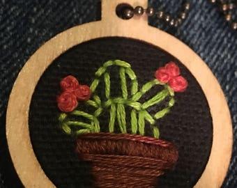 1 Inch Wooden Hoop- Cactus Necklace