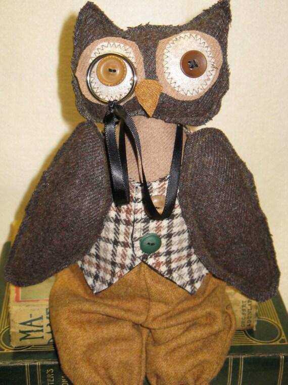 Professr Hootie - Cloth Doll E-Pattern 16 in Wise Old Professor Primitive Owl Epattern