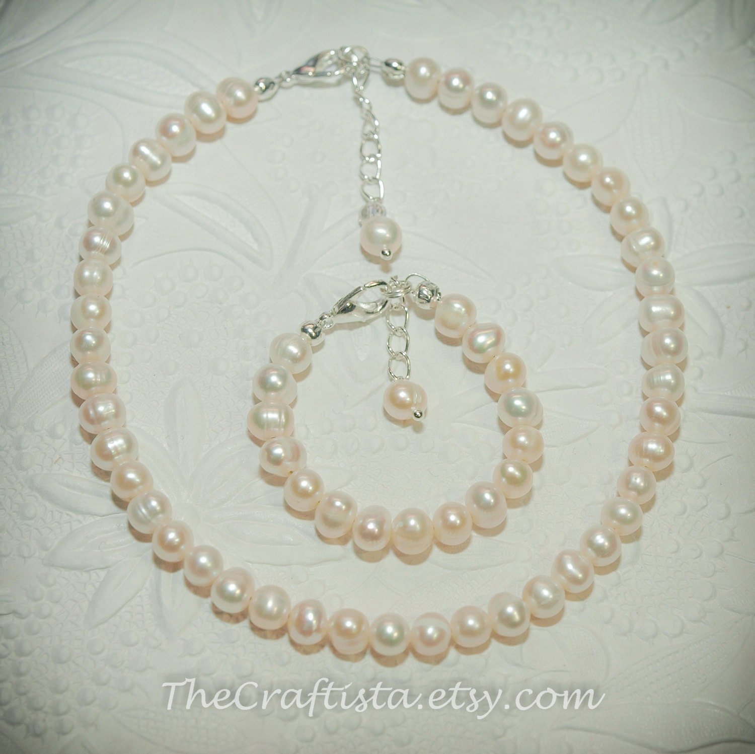 listing freshwater baby and zoom necklace il baptism pearl bracelet authentic fullxfull