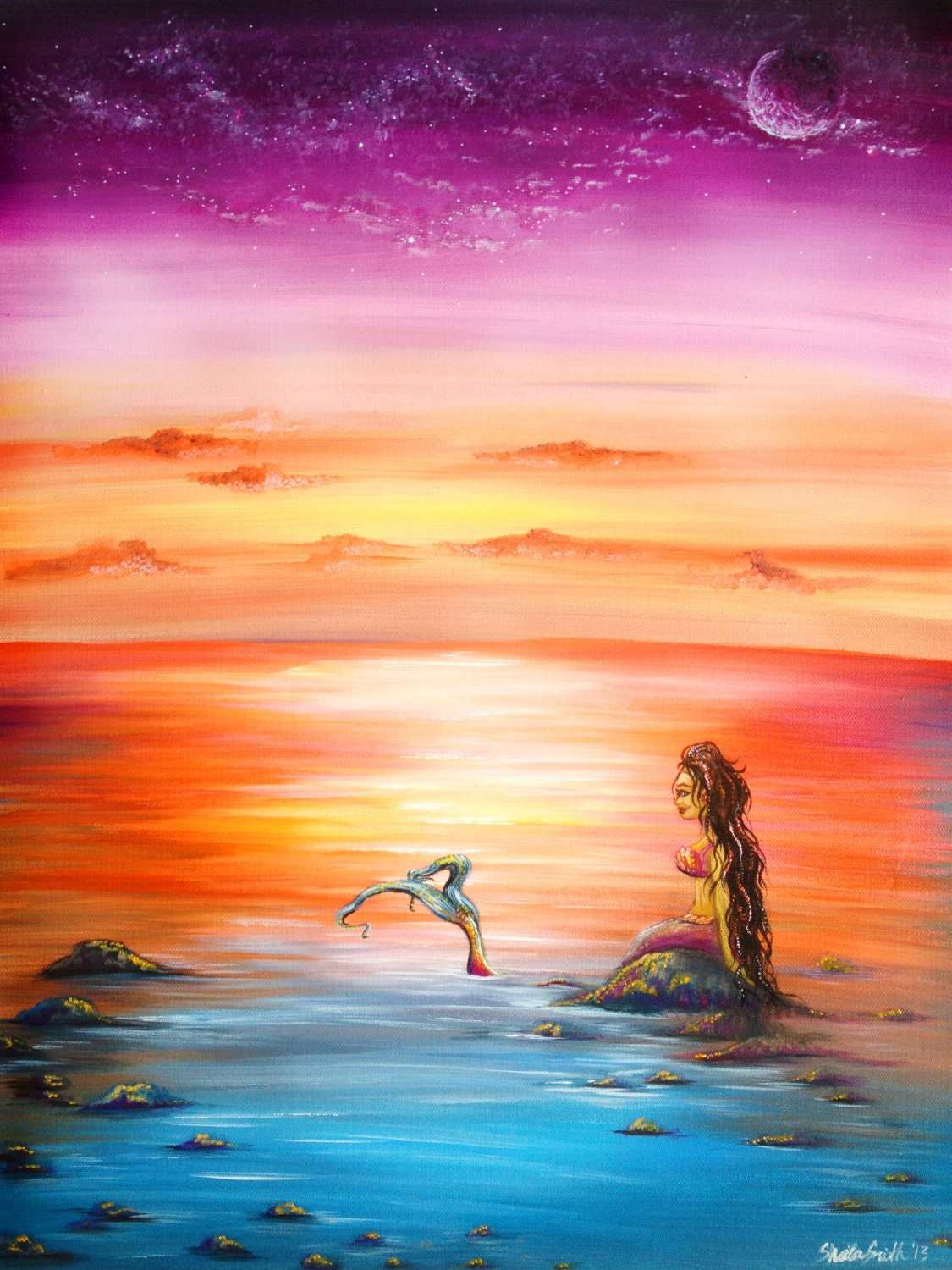 Colorful Fantasy Mermaid Original Painting Sunset Beach Scene