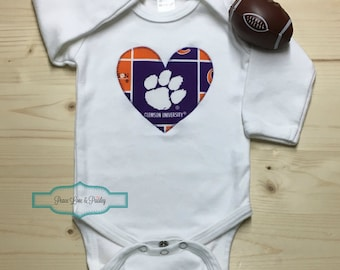 Clemson Tigers Bodysuit with Heart Made from Clemson University Fabric, Tigers Baby, Baby Shower Gift, Clemson Baby Shirt