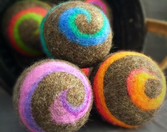 Ovella Wool Dryer Balls, The Lixo Brillante Collection. Set of three (3) swirls, brown, grey, classic, colorful, bright, orange, pink, green