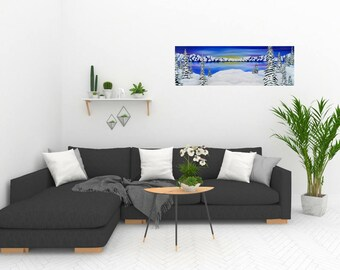 Winter Panoramic Landscape Painting | Gift For Mom | Art Prints | Home Decor | Painting | Art | Wall Art | Wall Decor | Nature Lover Gift