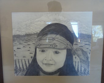 """Native American Pencil Drawing Titiled """"Corn Child."""