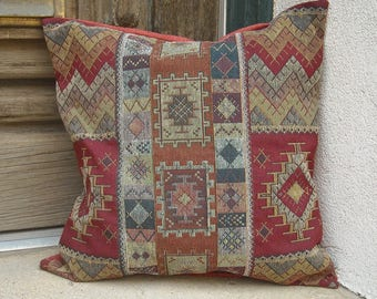 Southwestern Pillow Cover.  Luxurious fabric with designs typical of the Southwest. 16 x 16 to 24 x 24