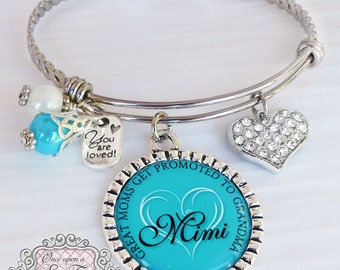New Grandma Gift- Bracelet-  Grandma Gift - Great Moms Get Promoted- Personalized Bangle Bracelet- Gifts for Woman - Birthday Gifts for Her