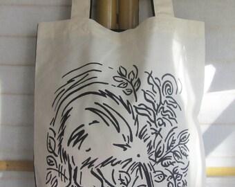 Kiwi Eco Tote Bag - Black & White