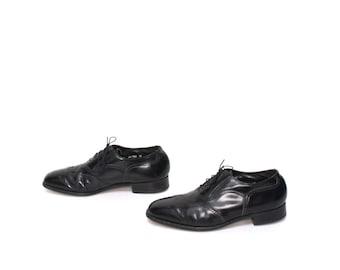 mens size 10.5 OXFORD black leather FLORSHEIM 80's WINGTIPS lace up dress shoes