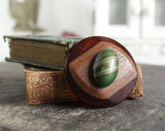 Bakelite celluloid Button Brooch wood layer striped bubble celluloid button pin jewelry  bail for necklace rare antique vintage suit coat