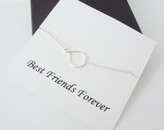 Eternity Infinity Sterling Silver Necklace ~~Personalized Jewelry Gift Card for Friend, Best Friend, Sister, Step Sister, Bridal Party